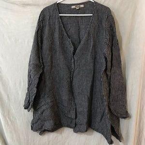 Flax Linen Cardigan M Black/White Stripe GUC